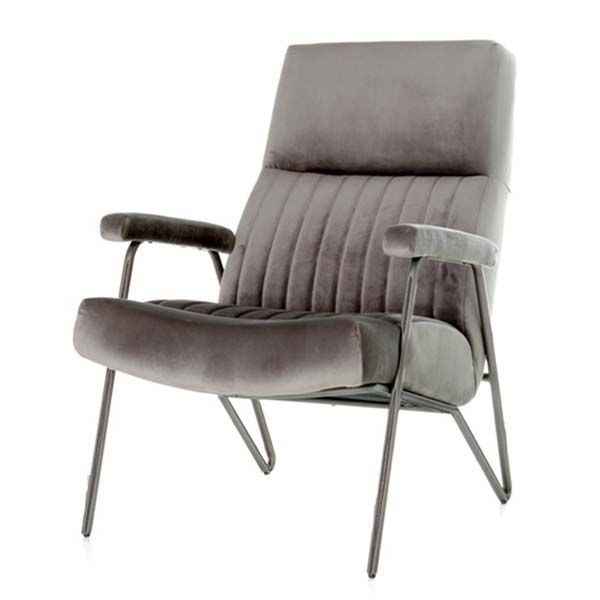 Fauteuil William velvet grijs
