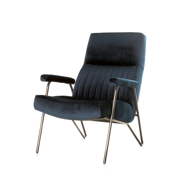 Fauteuil William velvet blauw